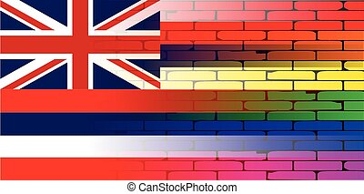 Rainbow Wall Hawaii - A well worn wall painted with a LGBT...