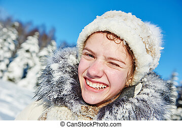 smiling happy girl in winter