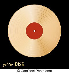 Gold disk vinil on black background Vector illustration