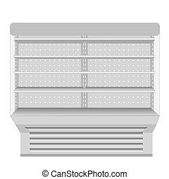 Cooled Regal Rack Refrigerator Wall Cabinet Blank Empty Showcase Displays. Retail Shelves. 3D Products On White Background Isolated. Mock Up Ready For Your Design