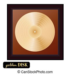 Gold disk vinyl with frame. Vector illustration