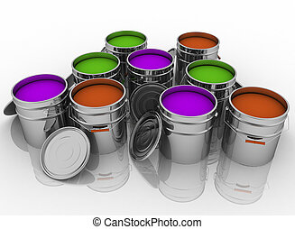 Open buckets with a paint.