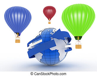 Hot air balloons 3d illustration on white background
