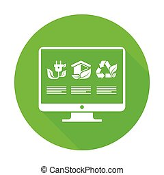 Infographic round flat elements green