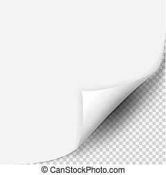 Page curl with shadow on blank sheet of paper. White paper...