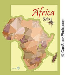 illustration of the map of Africa in the style polygon graphics. imitation vintage political map of Africa.