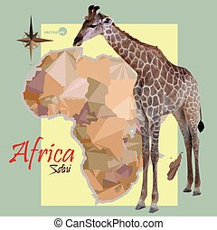 map of Africa. concept map with countries, image of a giraffe imitation vintage political map of Africa. Africa map in polygonal