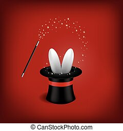 Magician Hat with Magician Wand.Vector illustration .