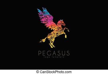 Pegasus logo. Colorful logo design. Creative logo. Rainbow pegasus. Pegasus in grunge style