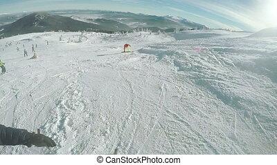 Fall skiing winter - Riding on ski run and fall