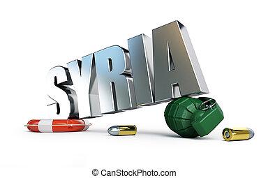 guerra, Syriya, 3D, ilustrações, ligado, Um,...