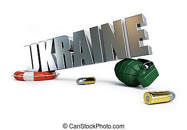Ucrânia, fundo, ilustrações, branca, guerra,  3D