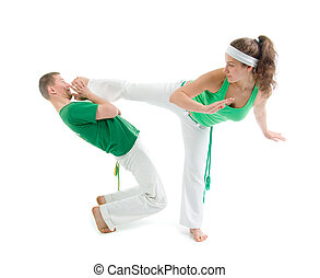 Contact Sport .Capoeira.over white background