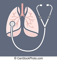 Stethoscope lungs Icon - Beautiful vector illustration of...