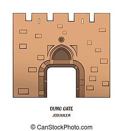 Dung Gate in Jerusalem - Dung Gate in Old City of Jerusalem...