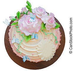beautiful cake with sugar roses, isolated on a white background