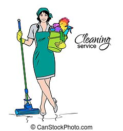 Woman in uniform Cleaning services - Cleaning services The...