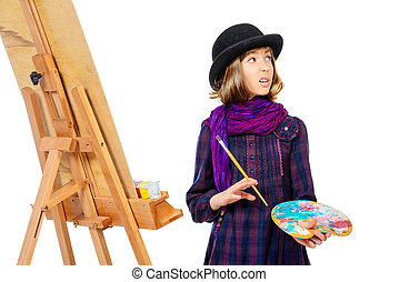 freelancer - Young artist girl with her easel and palette of...