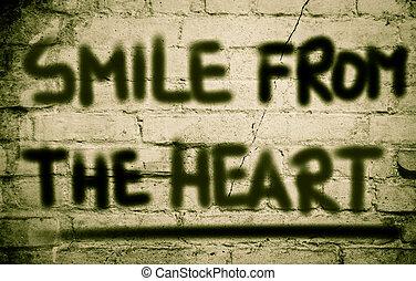 sorrizo, De, a, Coração, conceito,