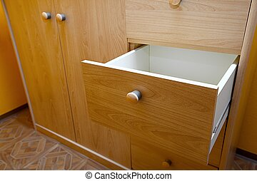 Cabinet - Wooden cabinet with open drawer