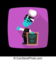 Quadrate flat vector icon with vampire cook and Halloween...