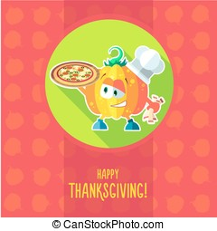 Card with chef cartoon pumpkin for menu or an invitation to Than