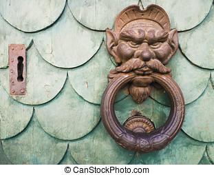 hierro, duende, cara, Doorknocker,