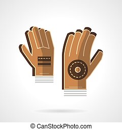 Goalkeepers gloves flat color vector icon - Brown...