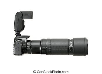 Camera with telephoto lens and flash
