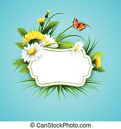 Fresh spring background with grass, dandelions and daisies....