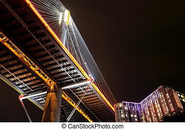 Ting Kau Bridge at night, Hong Kong