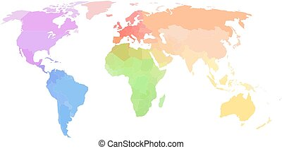 Political world map on white background - Colored political...