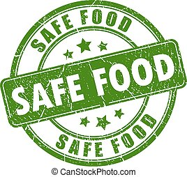 Safe food rubber stamp isolated on white background