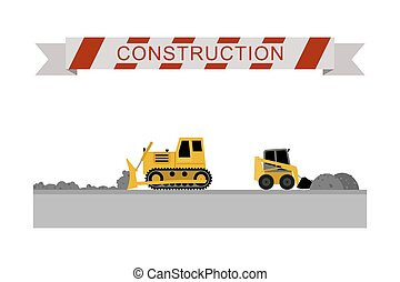 Construction machines icons - Bulldozer leveled the road...