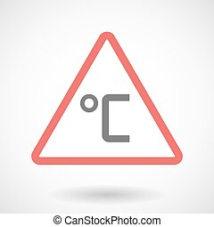 Warning signal icon with  a celsius degree sign