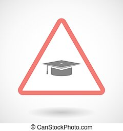 Warning signal icon with a graduation cap