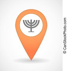 Map mark icon with a chandelier - Illustration of a map mark...