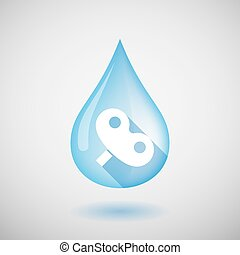 Long shadow water drop icon with a toy crank - Illustration...