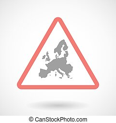 Warning signal icon with  a map of Europe
