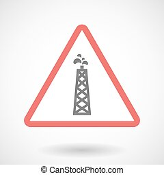 Warning signal icon with an oil tower
