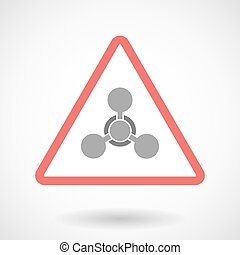 Warning signal icon with a chemical weapon sign