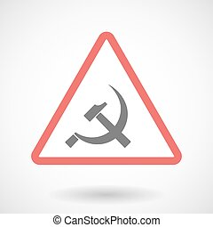 Warning signal icon with  the communist symbol