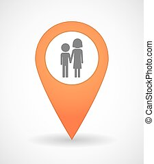 Map mark icon with a childhood pictogram - Illustration of a...