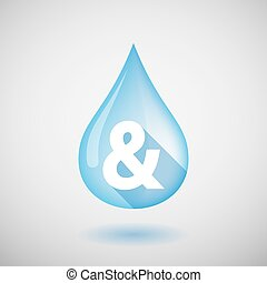 Long shadow water drop icon with an ampersand