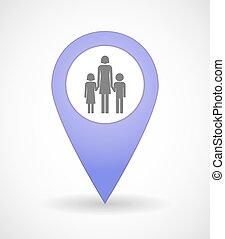 mapa, marca, icono, con, Un, hembra, solo, padre, familia,...