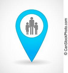 mapa, marca, icono, con, Un, macho, solo, padre, familia,...