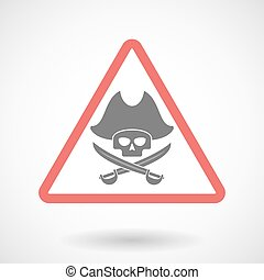 Warning signal icon with a pirate skull