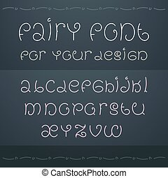 Dark fairytale font. Nice ornate linear style font for wedding invitation, cover and page decoration