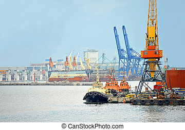 Tugboat and port cargo crane - Tugboat and freight train...