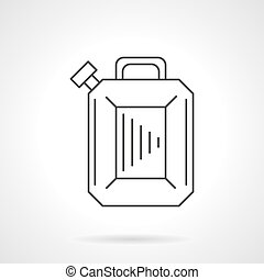 Gasoline canister flat line design vector icon - Fuel...